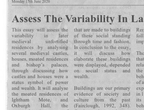 Assessing The Variability In Later Medieval Unfortified Elite Residences by Alison Smith (BA Hons)